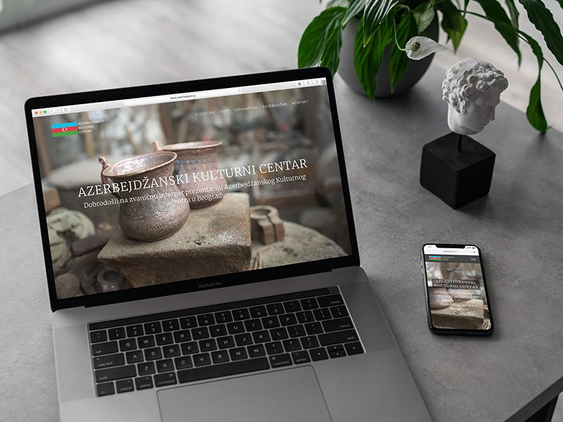 Azerbaijani cultural center website on laptop device